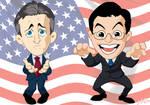 Jon Stewart + Stephen Colbert