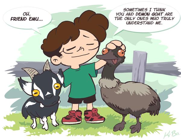 Friend Emu and Demon Goat by kevinbolk