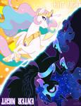 Princess Celestia + Nightmare Moon by K-Bo.