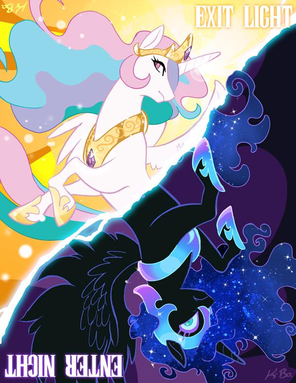 Princess Celestia + Nightmare Moon by K-Bo. by kevinbolk