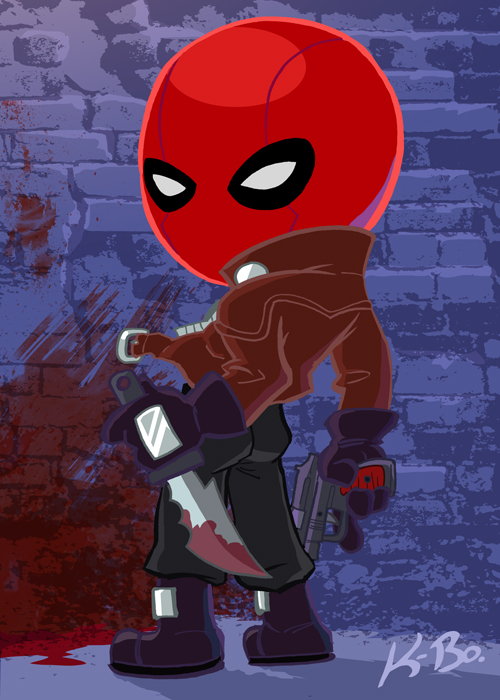 Bat-Villains: Red Hood Art Card by kevinbolk