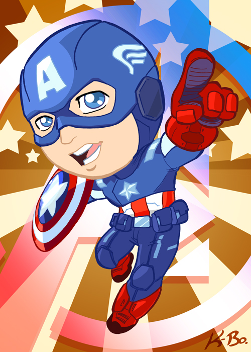 Avengers Captain America Art Card by kevinbolk