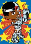 Super Powers Cyborg Art Card by K-Bo.