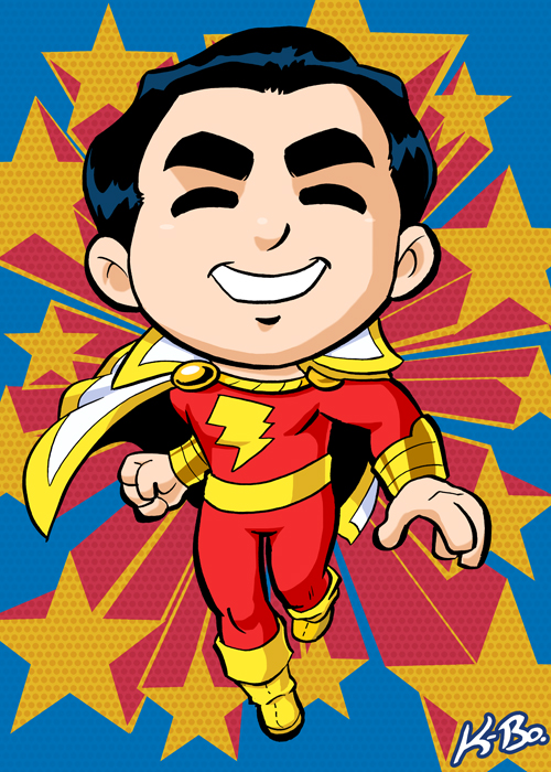 Super Powers Shazam Captain Marvel Art Card by kevinbolk