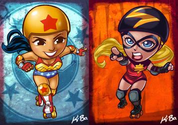 DC VS Marvel Roller Derby: Wonder Woman/Ms Marvel by kevinbolk