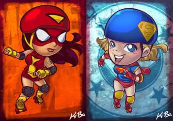 DC VS Marvel Roller Derby: Spider-Woman/Supergirl by kevinbolk