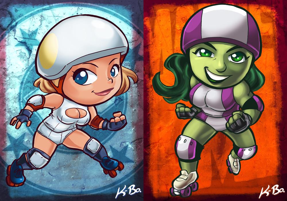 DC VS Marvel Roller Derby: Power Girl/She-Hulk by kevinbolk