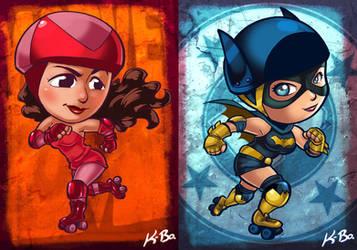 DC VS Marvel Roller Derby: Scarlet Witch/Batgirl