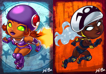 DC VS Marvel Roller Derby: Starfire/Storm by kevinbolk