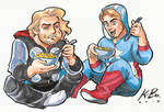 Cap n' Thor n' Macaroni n' Jammies Commission