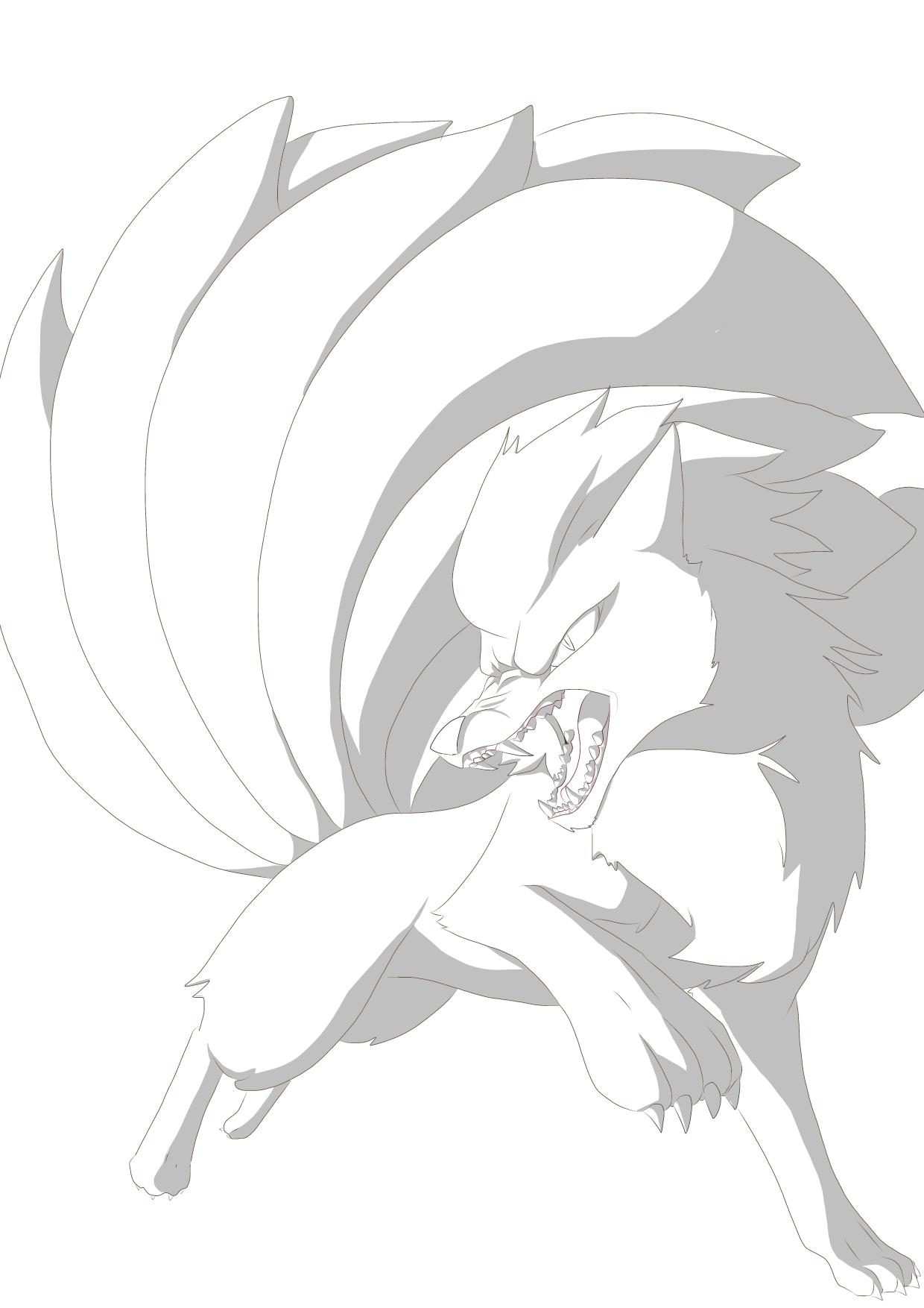 Ninetales Lineart by MasaBear