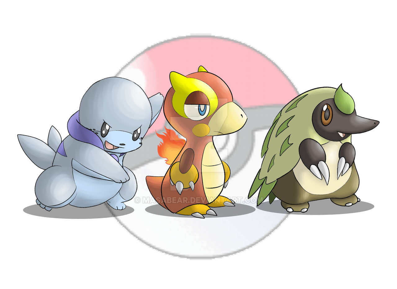 My Fakemon Starters by MasaBear on DeviantArt