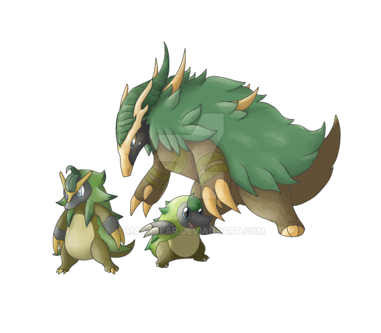 Fakemon Grass Starter W Evos By Masabear On Deviantart