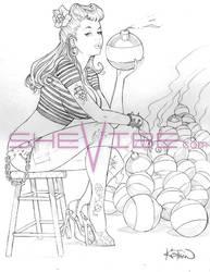NOVEMBER-2012-BOMB-GIRL-sketch by SheVibe