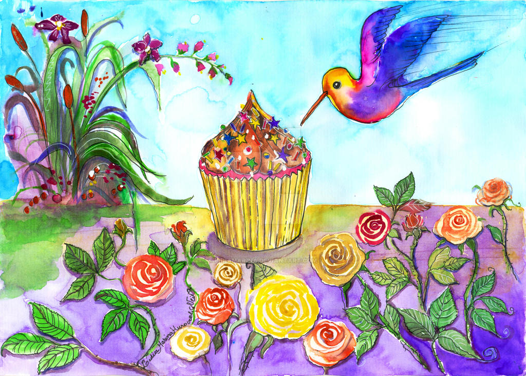 Cupcake and bird in my wonderland by LIDIAMARINA