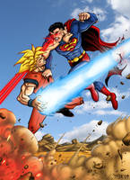 Superman vs Goku by TPollockJR