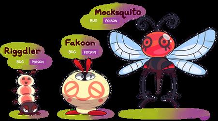 FAKEMON: Riggdler, Fakoon, Mocksquito by Mast3r-Rainb0w
