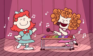 [C] 'Peanuts' Style: Red Hair Girl and Frieda
