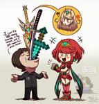 Sakurai the Sword Swallower (Pyra/Mythra in Smash)