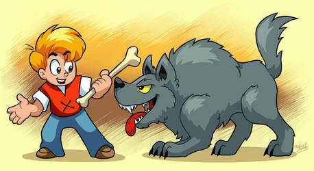 A Boy and His Wolf-Dog (Secret of Evermore)
