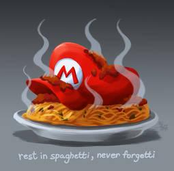 Mario Marinates in His Own Ragu (RIP)