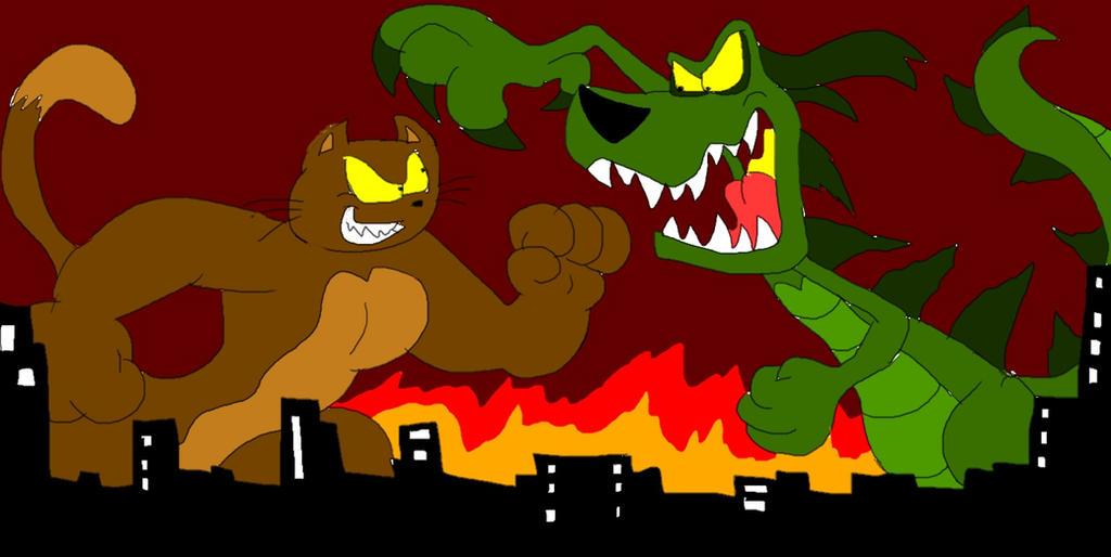 Cat Kong vs Dogzilla by SammyD-Productions