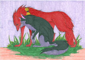 Jack Spicer and Kimiko wolves by bloodandwarwolf