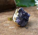 Ring Druse amethyst golden