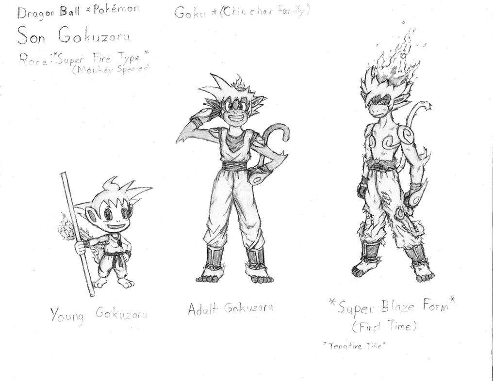 pokemon fire monkey coloring pages | Pokemon x Dragon Ball Z: Son Goku by RekstheEnigma on ...