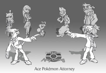 Ace Pokemon Attorney: Main Cast 1 by RekstheEnigma