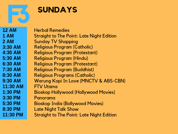 F3 Television Schedule (My Ideal TV Schedule) 3 by rynehabueva on