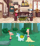 Gravity falls and phineas and ferb!