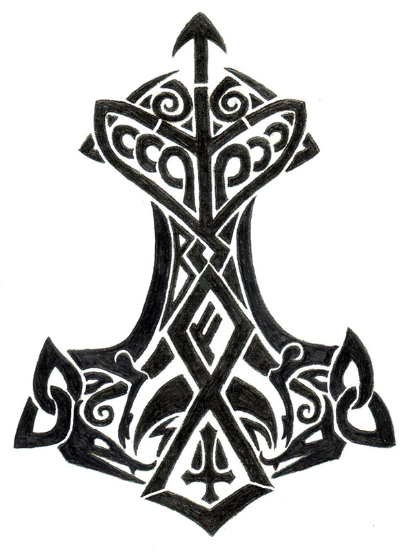 Thor's Hammer - shoulder tattoo