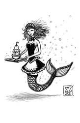 Draw A Mermaid Maid Serving Dessert