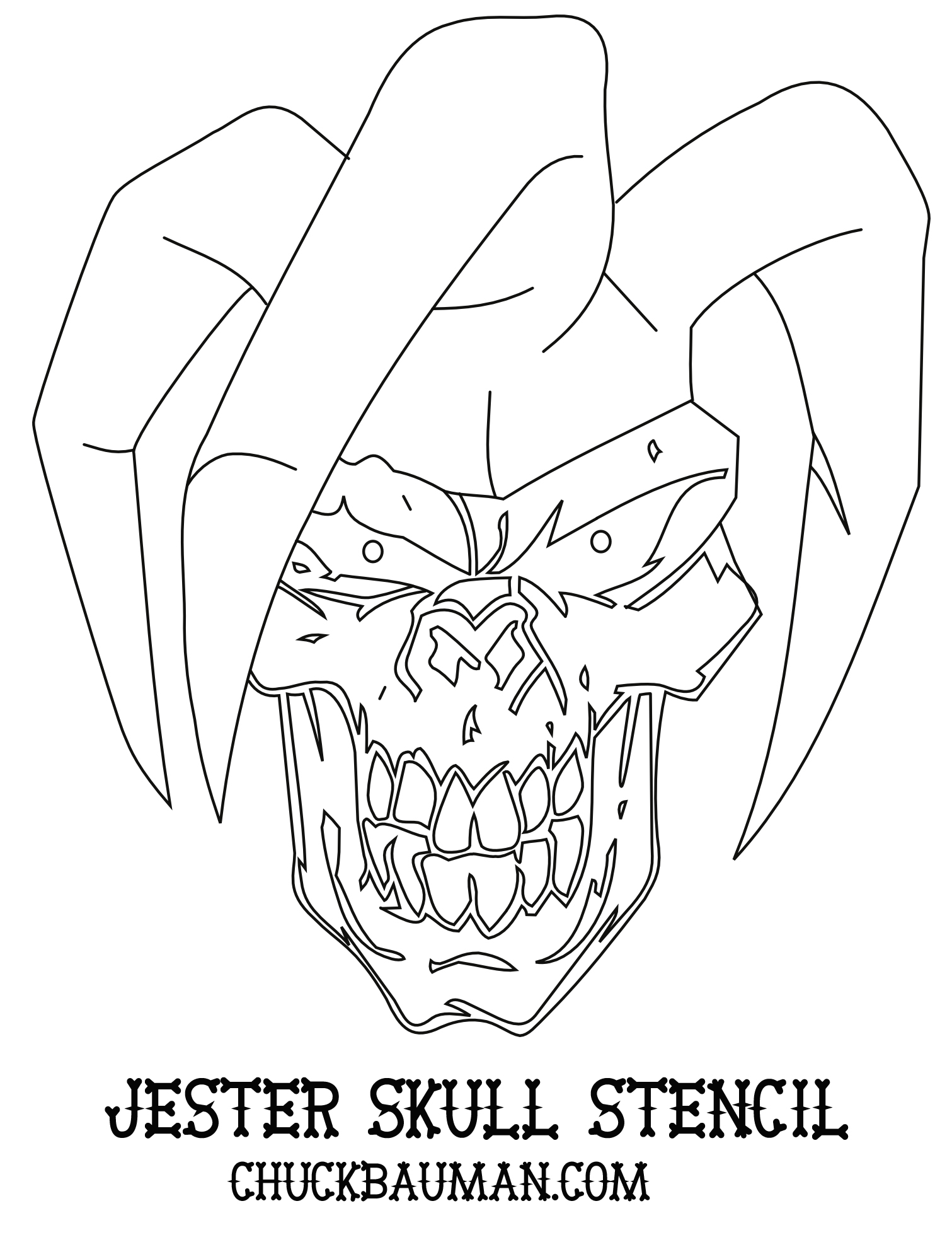 Airbrush Skull Jester Stencil by crb1177