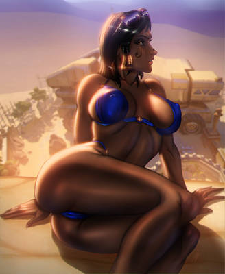 Pharah take in the sun by Ultamisia