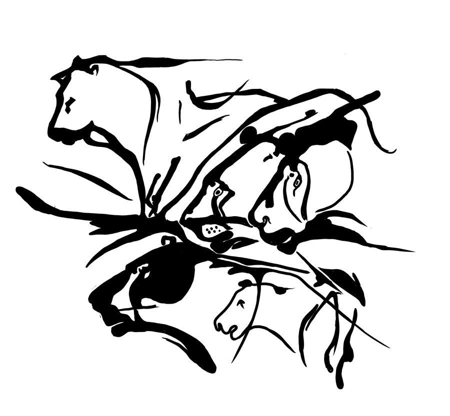 Tattoo design: cave lions by RomanJones