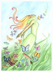 Meadow Fae Dancing Butterflies by DragonTreasureArt