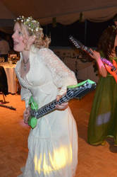 Happy Bride With Her Illuminous Inflatable Guitar!