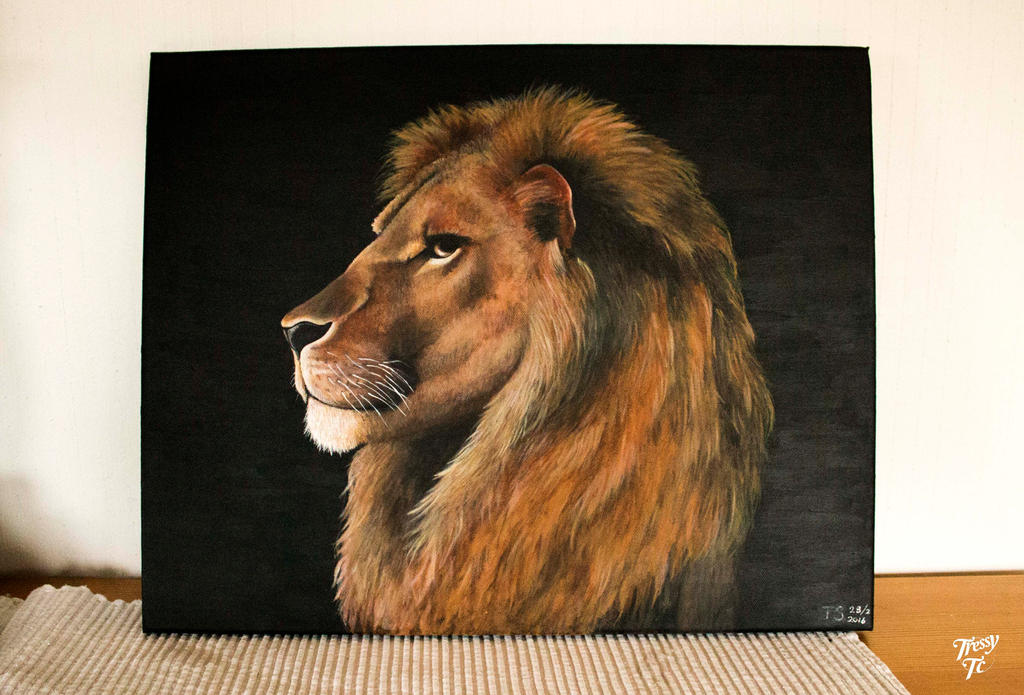 Lion on Canvas by Tressytc