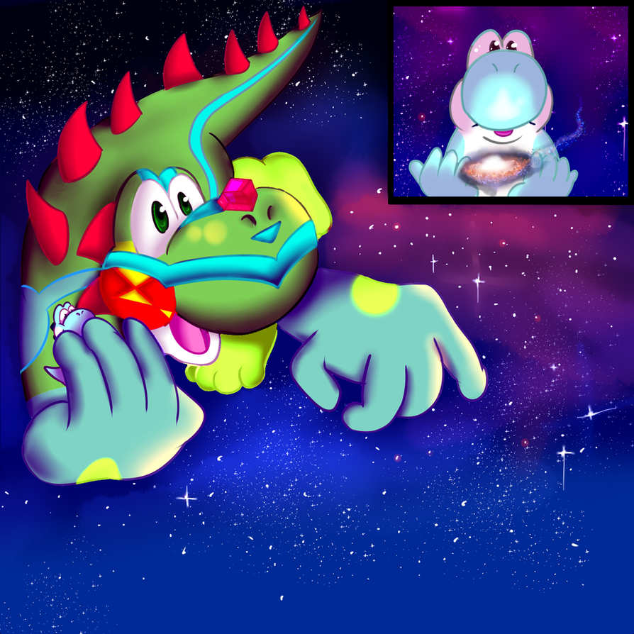 Commission: Yoshi's Galactic Journey by FirewolfNightNight