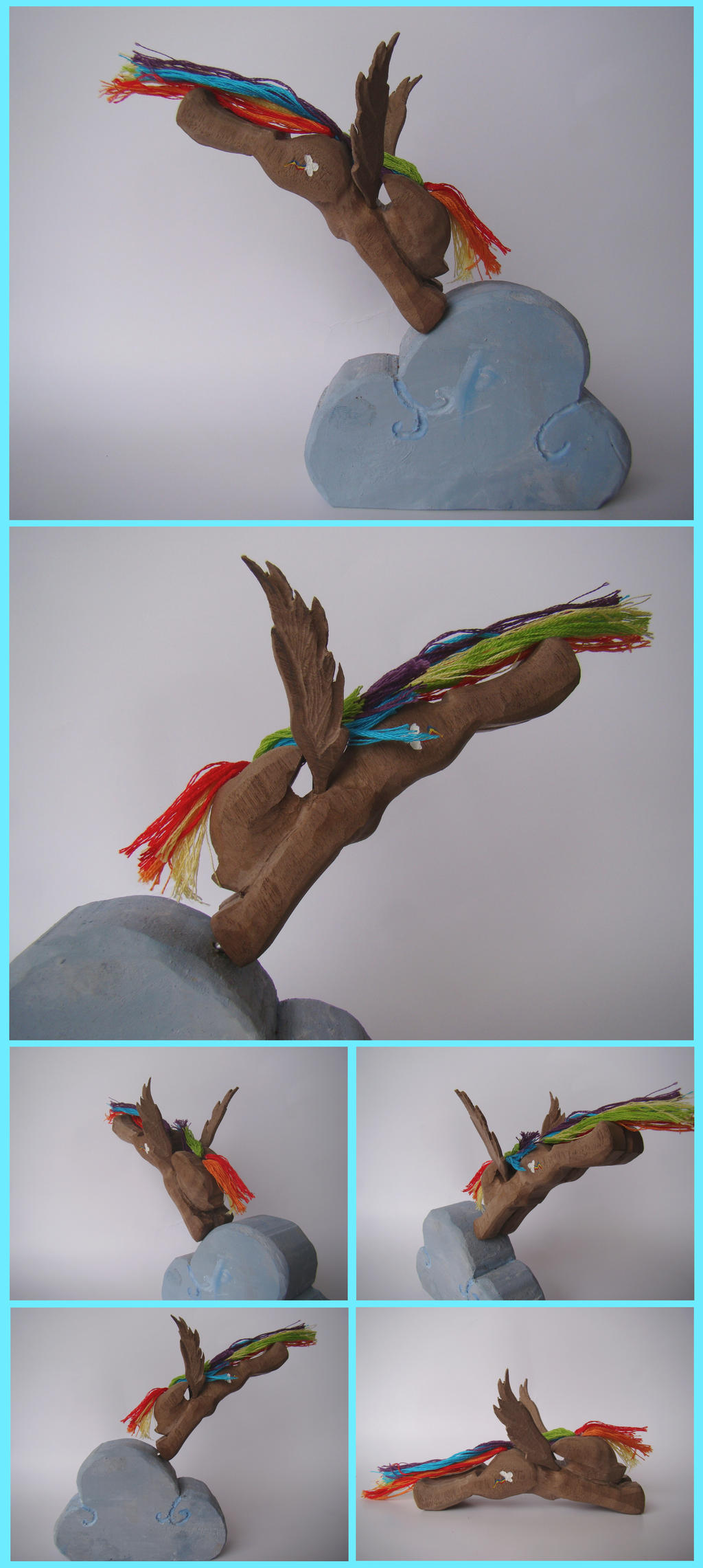Rainbow Dash Woodwork: Sky Diving by xofox
