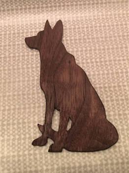 German Shepherd Silhouette in Walnut
