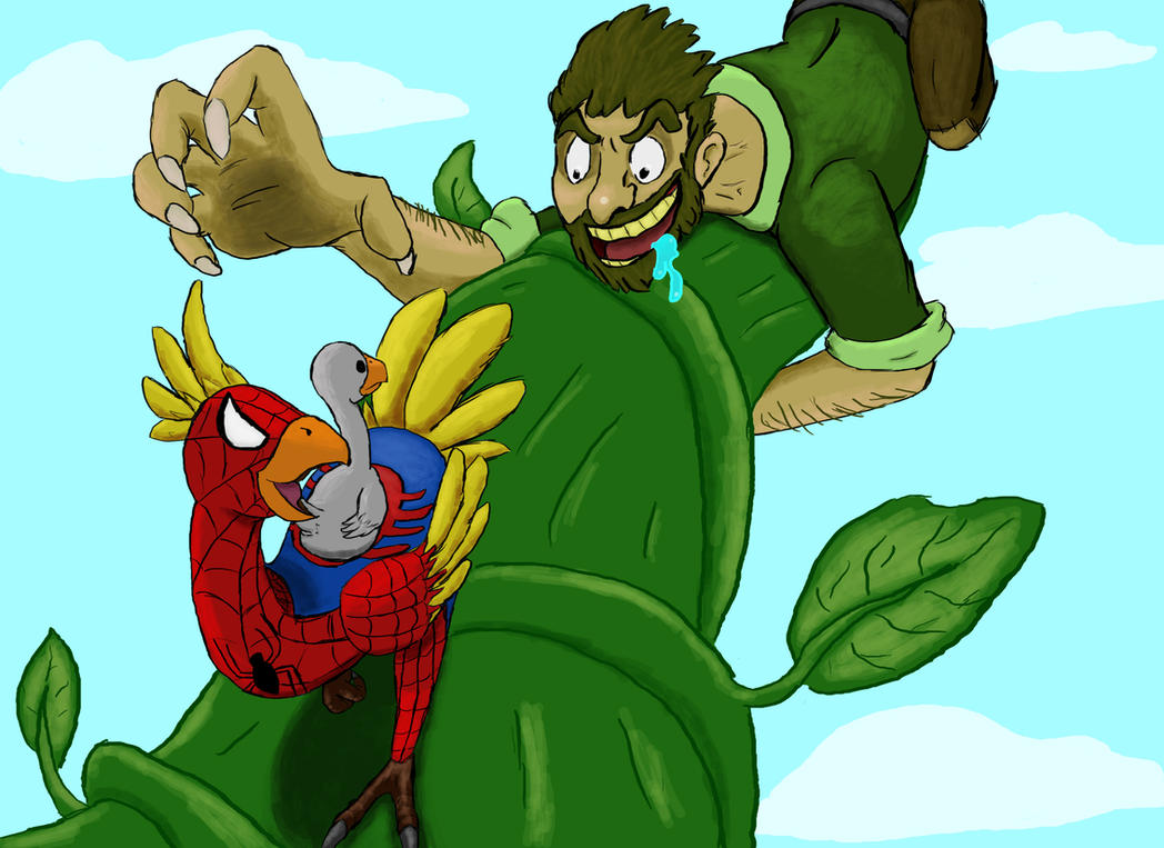 Spiderchocobo And The Beanstalk by patob215