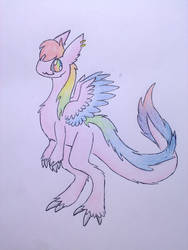 Fluffy RainbowDragonLadeh by RainbowDragon14