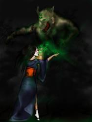 Kuni shugenja banishes Oni by Faily-chan