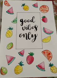 Watercolor fruit illustration with lettering by rocksstar10