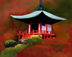 Japanese Landscape Digital Painting (Shrine)