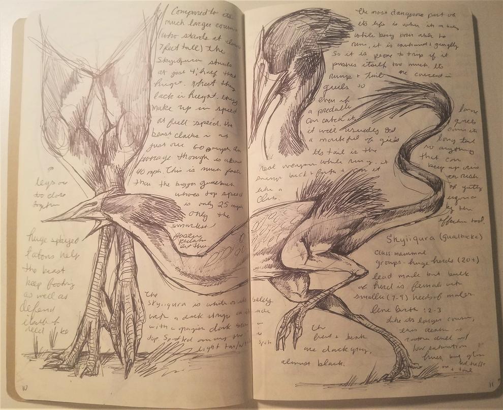 Dec-Feb 2017 Sketchbook 10-11 by Bazzyli