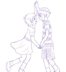sketch3- Ness x Paula by Lia-Snow